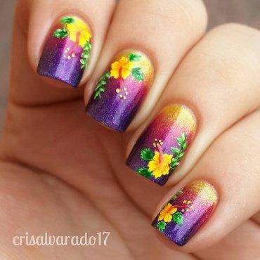Hibiscus nail art by Cristina Alvarado