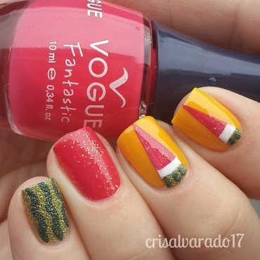 Watermelon 🍉 nail art by Cristina Alvarado