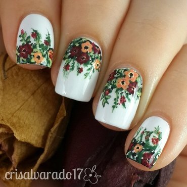 Flowers  nail art by Cristina Alvarado