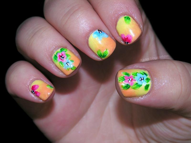 Tropical Floral Nails Art nail art by Agni