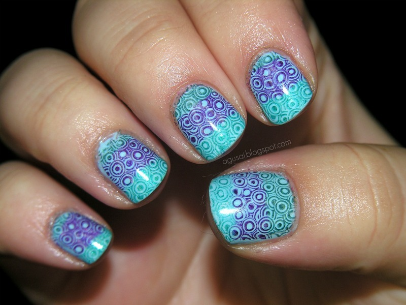Geometric stamping nail art by Agni