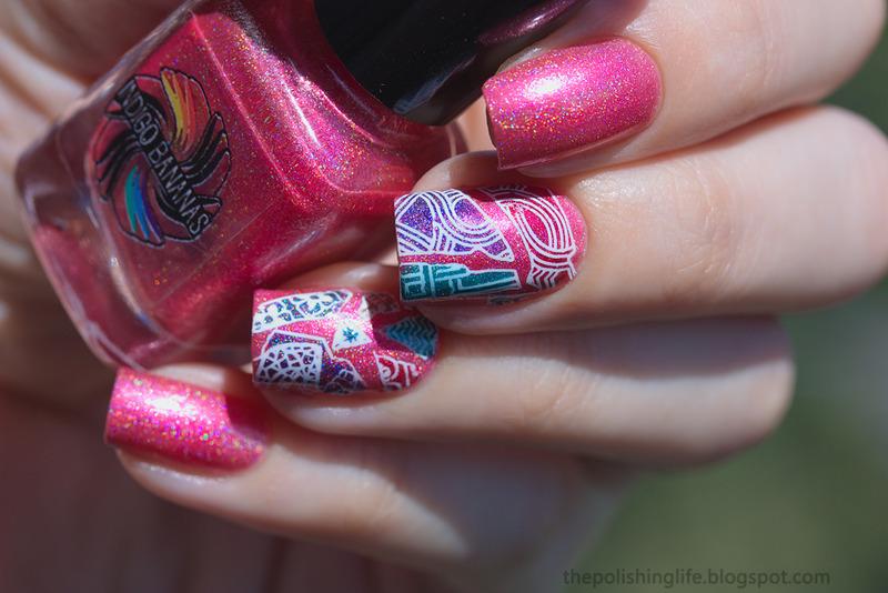 Mosaic reverse stamping nail art by Alena Belozerova