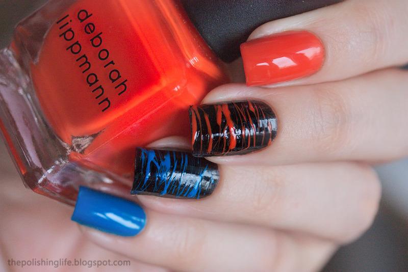 Orange and blue sugar spun nails nail art by Alena Belozerova