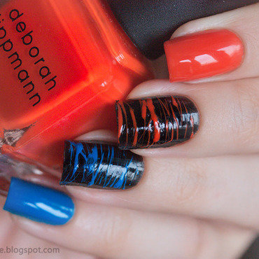 Orange and blue sugar spun nails nail art by Alena Belozerova