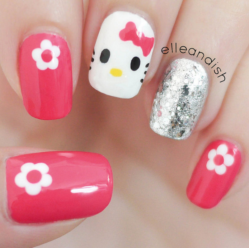 Easy hello kitty nails freehand nail art by elleandish easy hello kitty nails freehand nail art by elleandish prinsesfo Choice Image