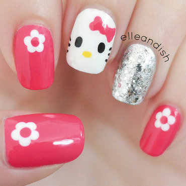 Easy Hello Kitty Nails (Freehand) nail art by elleandish
