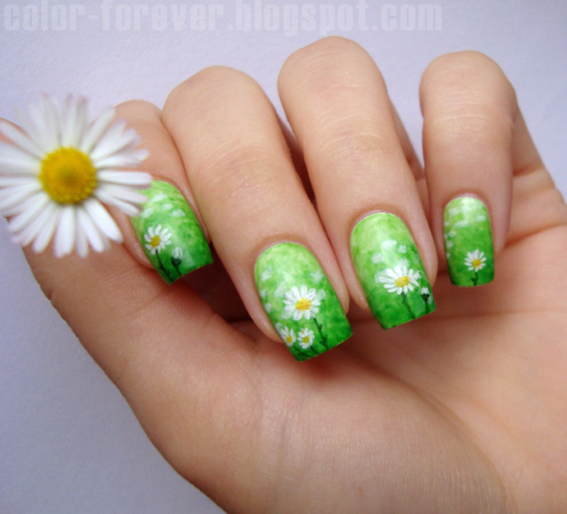 meadow & daisies nail art by ania
