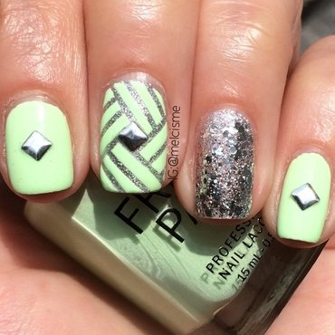 Intricate tape mani nail art by Melissa