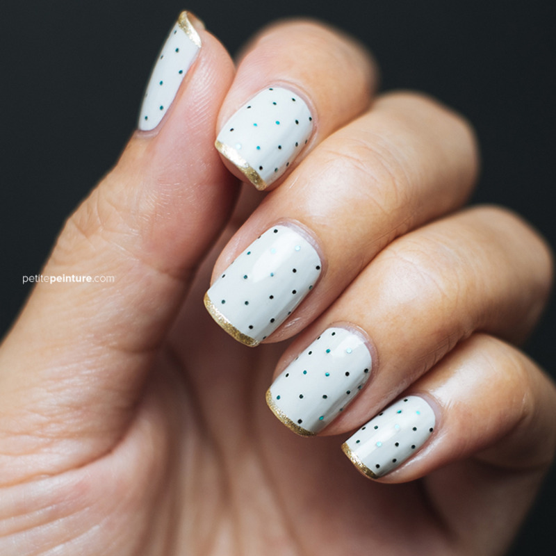 Glitter Dots and Gold Tips nail art by Petite Peinture