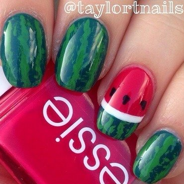 Watermelon nails inspired by @thisanddots nail art by taylortnails