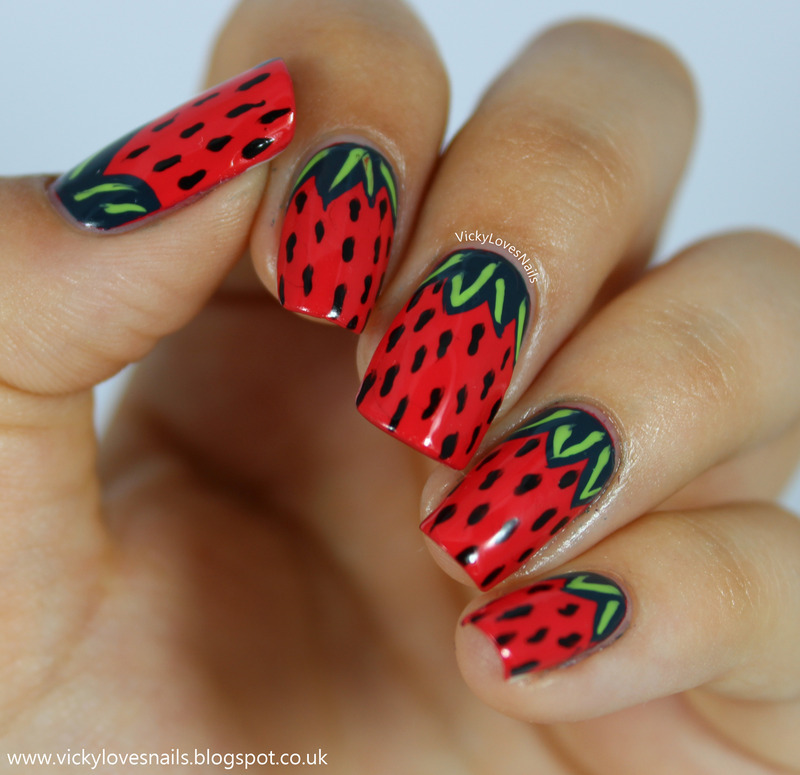 Strawberry Summer nail art by Vicky Standage