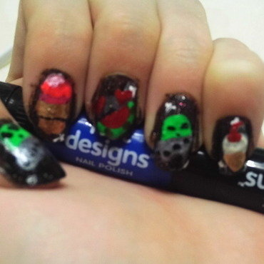 Aliens, watermelon, and icecream floating in space nail art by JessJar19