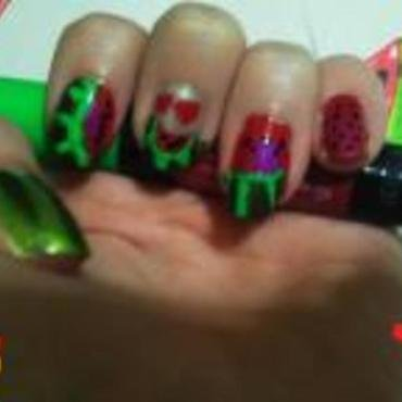 Loved Watermelons nail art by JessJar19