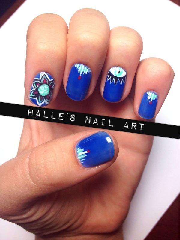 Ohm M-eye Gosh! nail art by Halle Butler