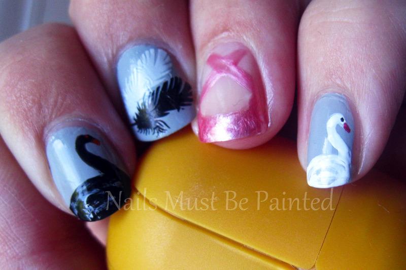Black Swan nail art by Emily