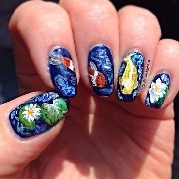 Koi Pond nail art by Tara Huff