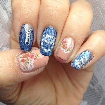 Denim and Lace nail art by Tara Huff