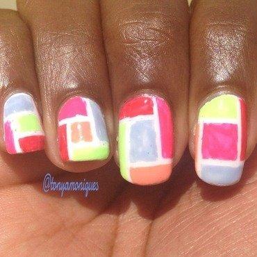 Summer colorblock nail art by Tonya Simmons