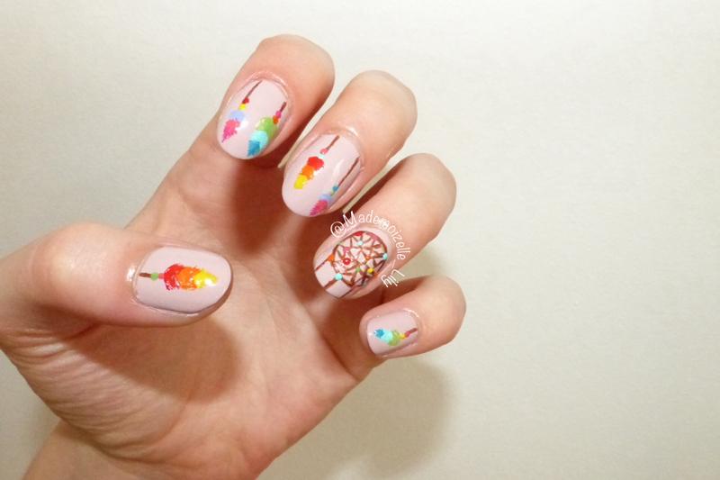 Colorful dreamcatcher nail art by Emilie