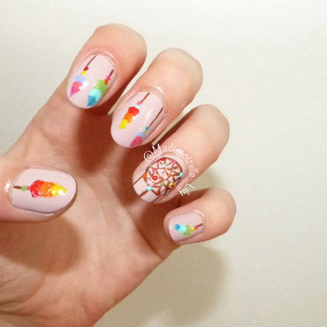 Colorful dreamcatcher nail art by Emilie