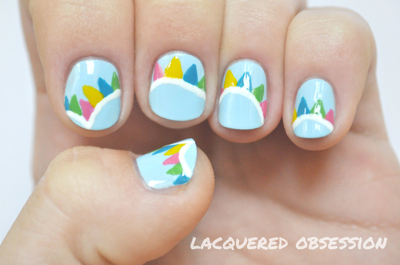 Bunting flags nail art by Lacquered Obsession
