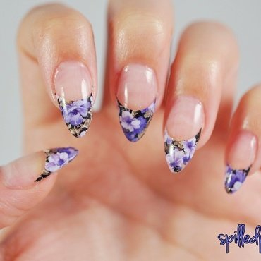 Floral French Manicure nail art by Maddy S