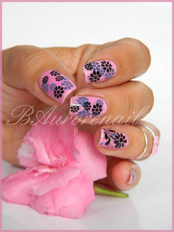 Gellystamping rose nail art by BAurorenail