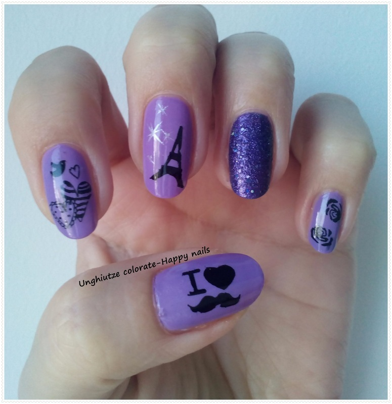 I Love Mustache nail art by Oana  Alexandru