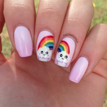 Rainbow Cupcake  nail art by NailThatDesign