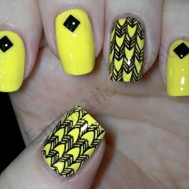 Yellow Stamped Fishbone Studs nail art by Enigmatic Rambles