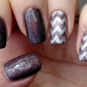 Stamped Holo Mauve Chevron Nails nail art by Enigmatic Rambles