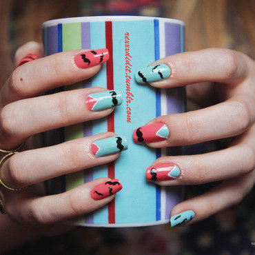 Moustaches Here, Moustaches There - Moustaches Everywhere! nail art by Robin