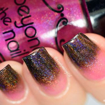 Lorde gone mild: Pink holo over black tips nail art by simplynailogical