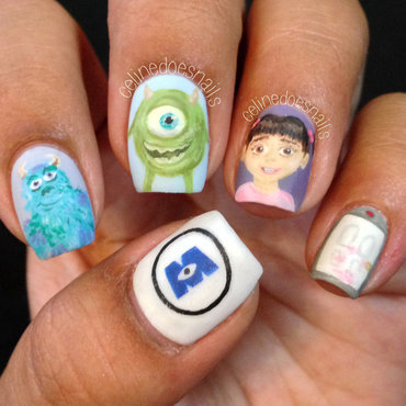 Monsters, Inc Nail Art nail art by Celine Peña