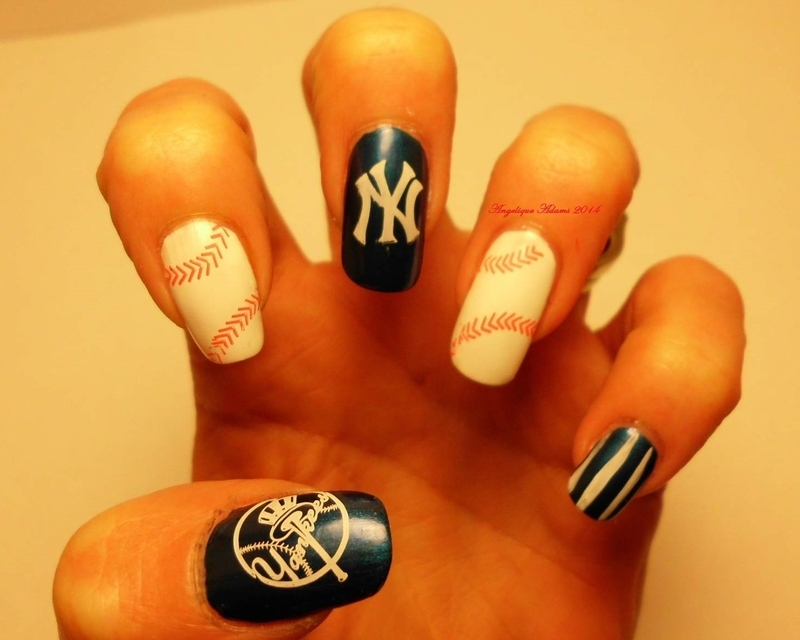 New York Yankees nail art by Angelique Adams - Nailpolis: Museum of ...