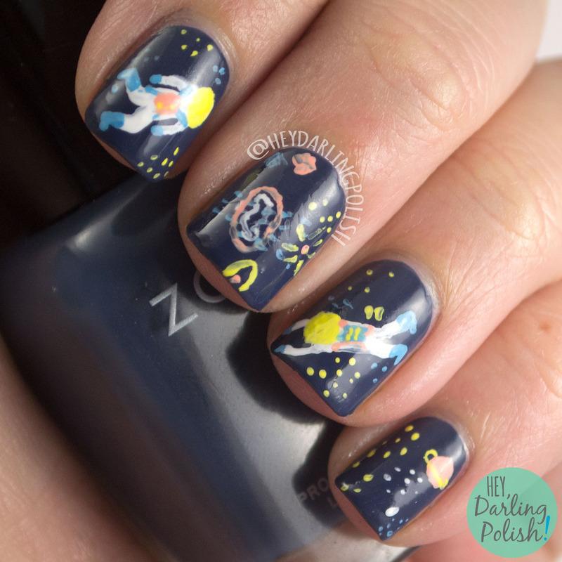 Astro Dudes nail art by Marisa  Cavanaugh