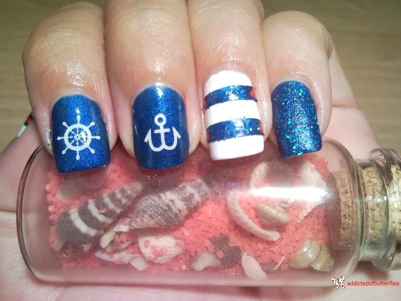Nautical nails nail art by Rita Mirabela