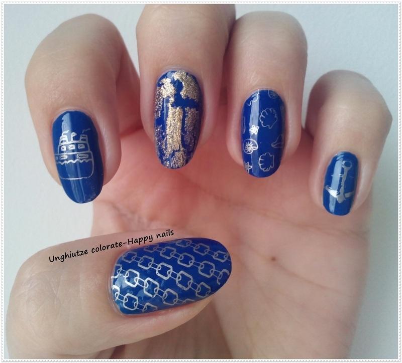 Nautical nail art by Oana  Alexandru