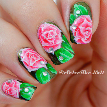 Pink Roses nail art by Bella Seizethenail