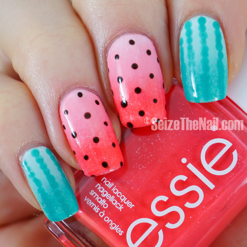 Watermelon dotticure nail art by Bella Seizethenail