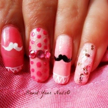 Cute Mustache and Pink for October nail art by Vidula Kulkarni