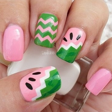 Watermelon Nails nail art by Iliana S.