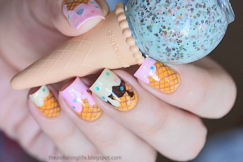 Ice cream nails nail art by Alena Belozerova