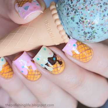 Ice cream nails nail art by Alena Belozerova