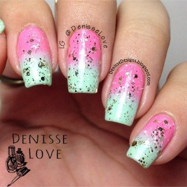 Mint + Pink nail art by Denisse Love
