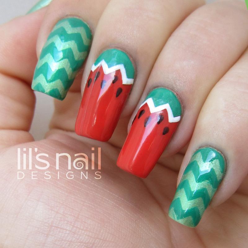 Chevron Watermelon nail art by Lily-Jane Verezen