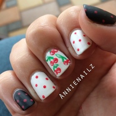 Cherry polka dots nail art by Annienailz