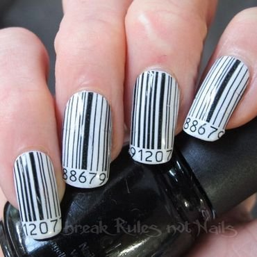 Barcode nail art by Michelle