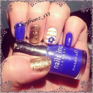 Pretty blue and gold mani! nail art by Sandy
