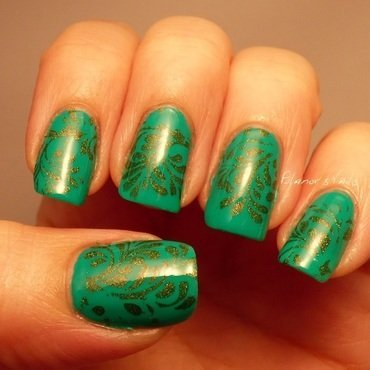 Green on Green Stamping nail art by Ginger_Elanor
